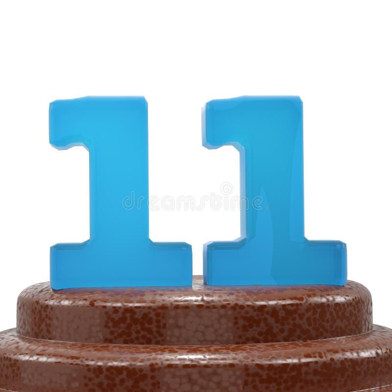 Nummer 11 Elf op de cake van ChoÑ  olate 3d geef illustratie terug vector illustratie