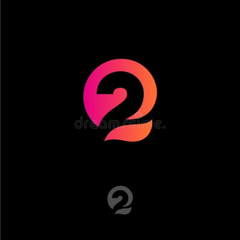 Nummer 2 en q-brievenmonogram Gradiënt abstract die embleem op een donkere achtergrond wordt geïsoleerd stock illustratie