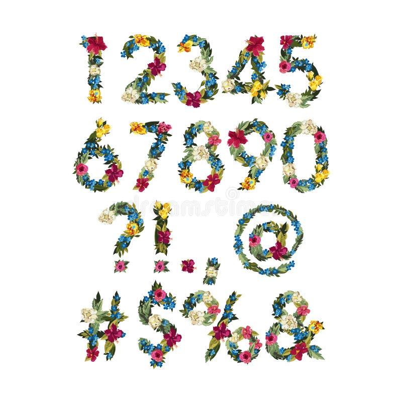 Nummer färgrik blommastilsort för vektor för din design stock illustrationer
