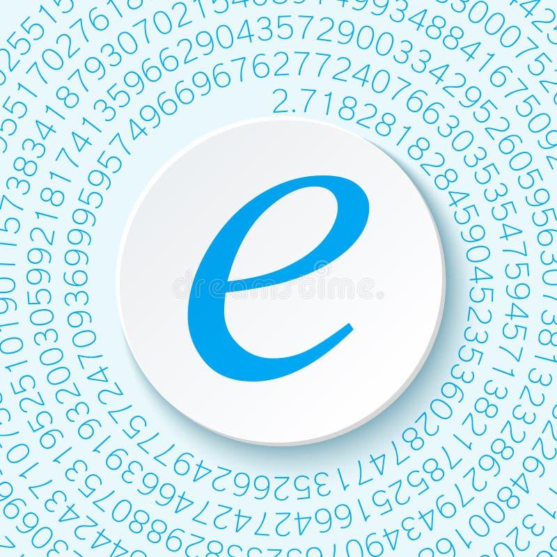 Nummer för Euler ` s med en skugga på en digital bakgrund Matematisk konstant, decimal- irrationellt nummer vektor illustrationer
