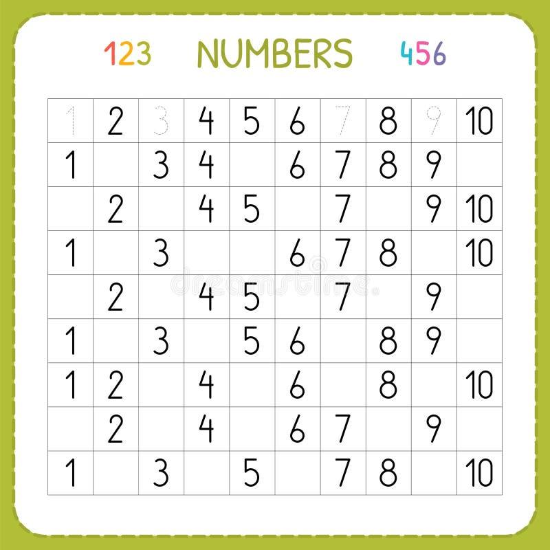 Nummer för ungar Arbetssedel för dagis och förträning Utbildning som skriver och som räknar nummer Övningar för barn vektor illustrationer