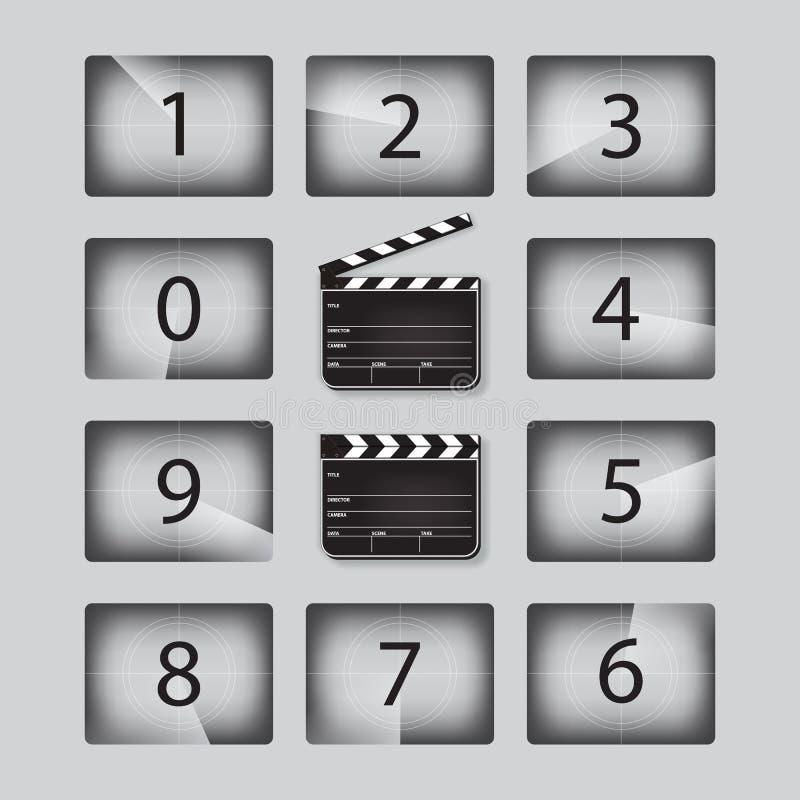 Nummer för vektorfilmnedräkning ställde in med clapperboards i olika positioner royaltyfri illustrationer