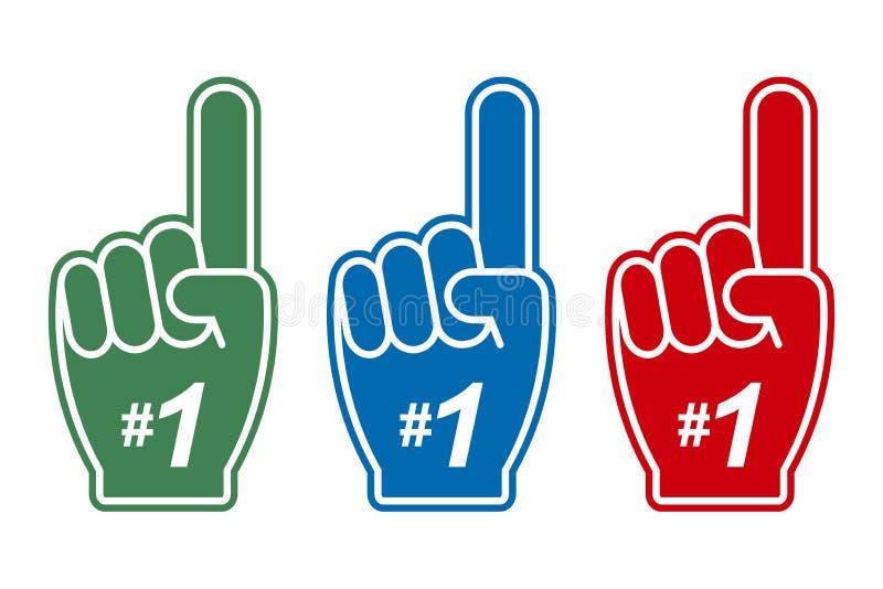 Nummer 1 - fanskumfinger Uppsättning av färghänder med ett finger upp för sportservice vektor vektor illustrationer