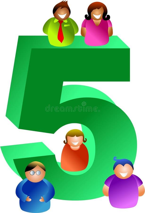 nummer fem vektor illustrationer