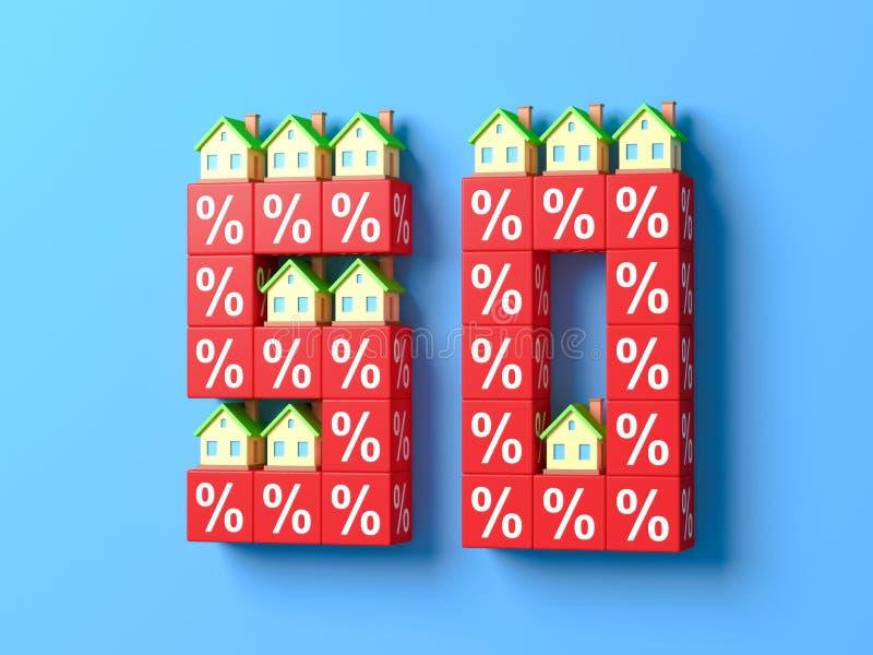 Nummer femtio med miniatyrhus och röda procentsatskvarter stock illustrationer