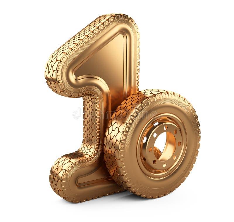 Nummer 1 från det guld- stora bilgummihjulet Första ställe i competitioen royaltyfri illustrationer
