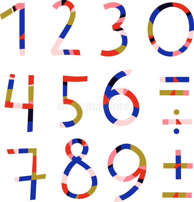 nummer från 1 till 10 och matematiskt tecken vektor illustrationer