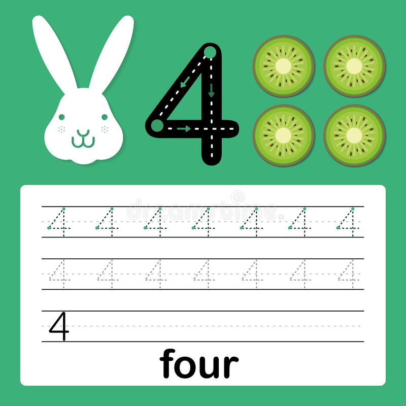 Nummer fyra, kort för ungar som lär att räkna och skriva, arbetssedel för att ungar ska öva handstilexpertis, vektorillustration royaltyfri illustrationer