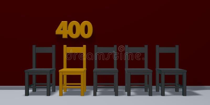 Nummer fyrahundra och rad av stolar vektor illustrationer