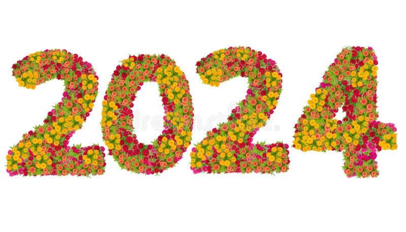 Nummer 2024 gemaakt van Zinnias-bloemen stock afbeelding