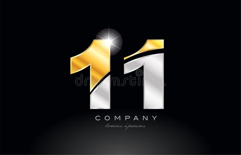 nummer 11 gouden zilveren grijs metaal op zwart embleem als achtergrond royalty-vrije illustratie