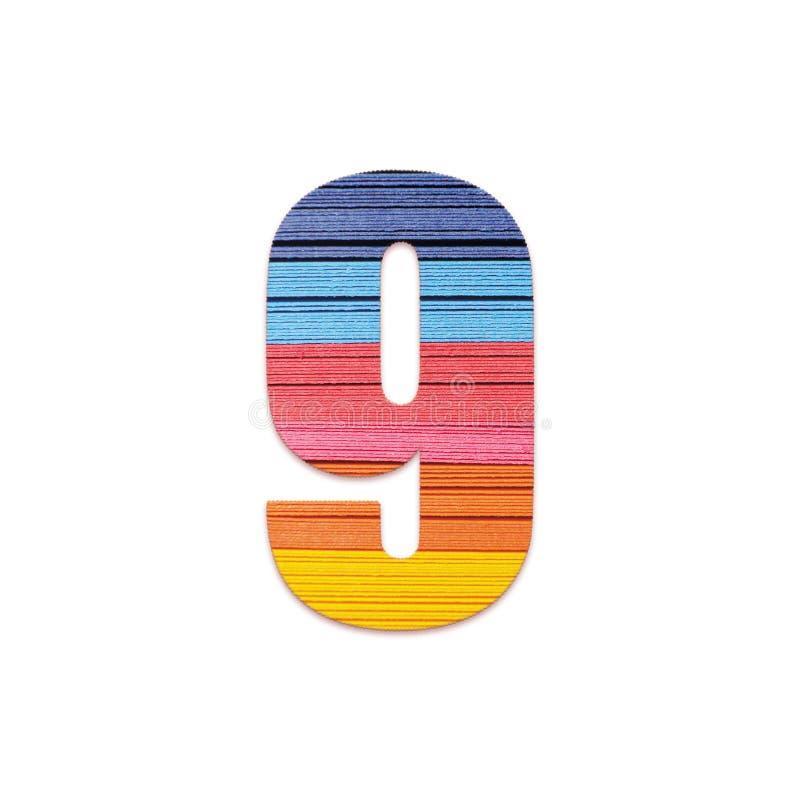 Nummer 9 Het document van de regenboogkleur royalty-vrije stock afbeelding
