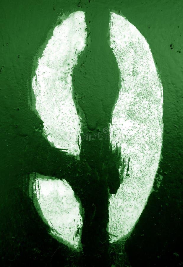 Nummer 9 i stencil p? metallv?ggen i gr?n signal fotografering för bildbyråer