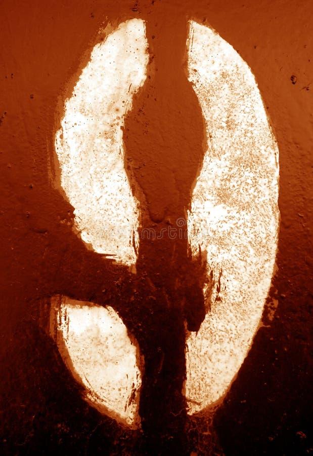 Nummer 9 i stencil p? metallv?ggen i orange signal royaltyfri foto