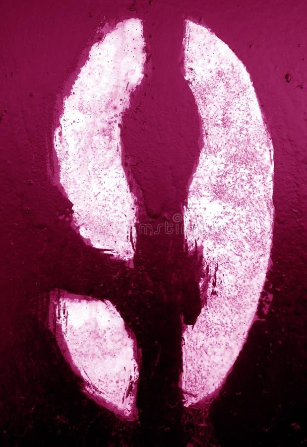 Nummer 9 i stencil p? metallv?ggen i rosa signal arkivbild