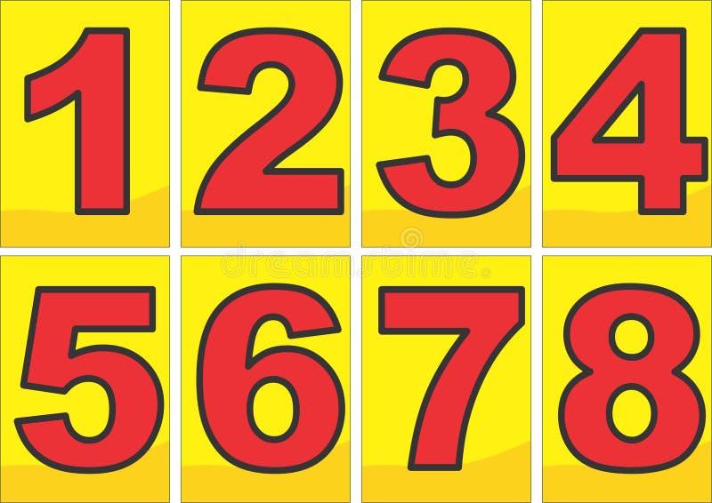 Nummer i svartöversikt för röd färg royaltyfria foton