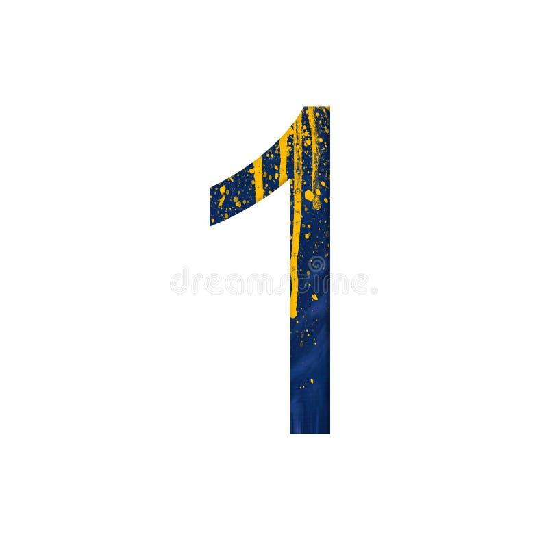 Nummer 1 illustratie op geïsoleerde achtergrond Het symbool van het waterverfalfabet met ploetert stock illustratie