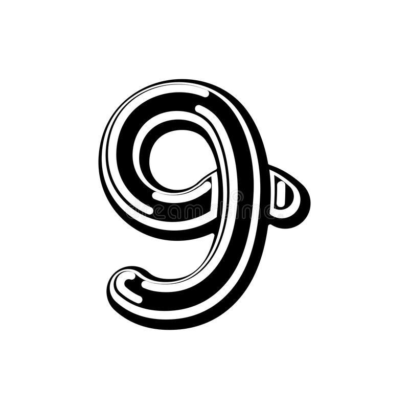 Nummer 9 Keltische doopvont norse middeleeuws teken negen van ornamentabc Tra royalty-vrije illustratie