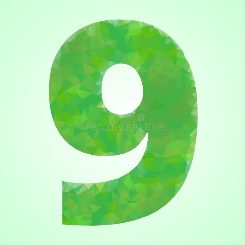 Nummer 9 Kleuren Groen Kristal vector illustratie