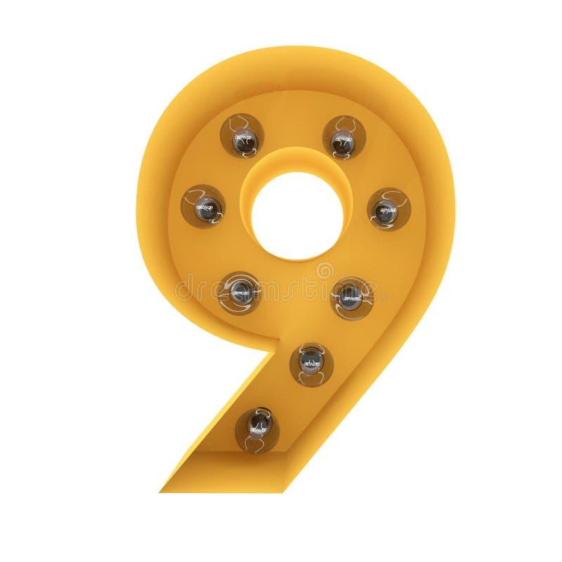 Nummer 9 lichte teken gele wijnoogst het 3d teruggeven royalty-vrije stock foto