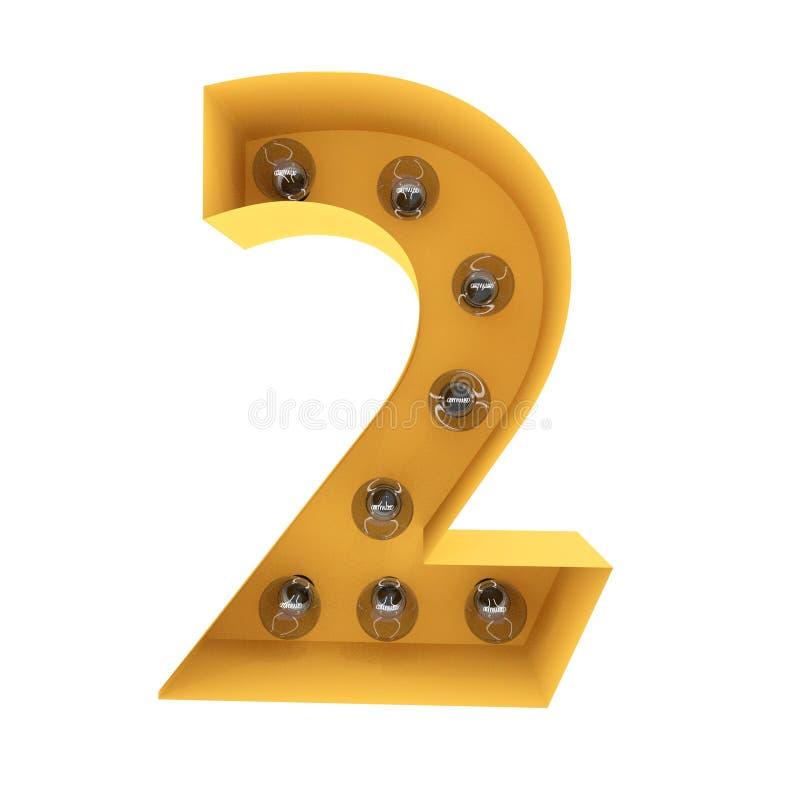 Nummer 2 lichte teken gele wijnoogst het 3d teruggeven stock afbeeldingen