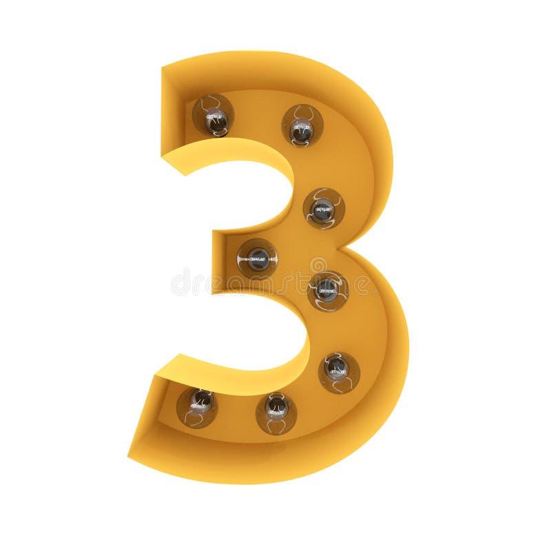 Nummer 3 lichte teken gele wijnoogst het 3d teruggeven stock fotografie