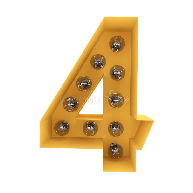 Nummer 4 lichte teken gele wijnoogst het 3d teruggeven stock foto's