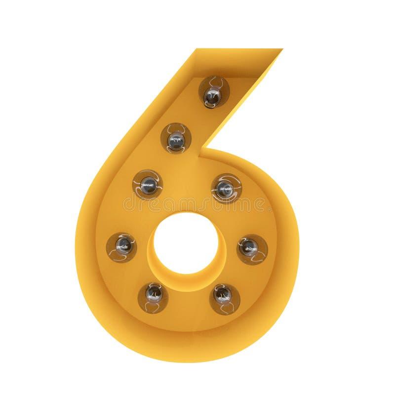 Nummer 6 lichte teken gele wijnoogst het 3d teruggeven stock afbeelding