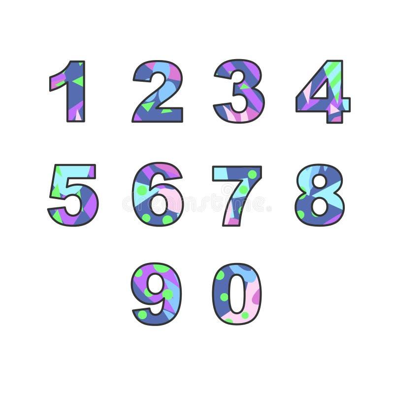 Nummer med den abstrakta påfyllningen stock illustrationer