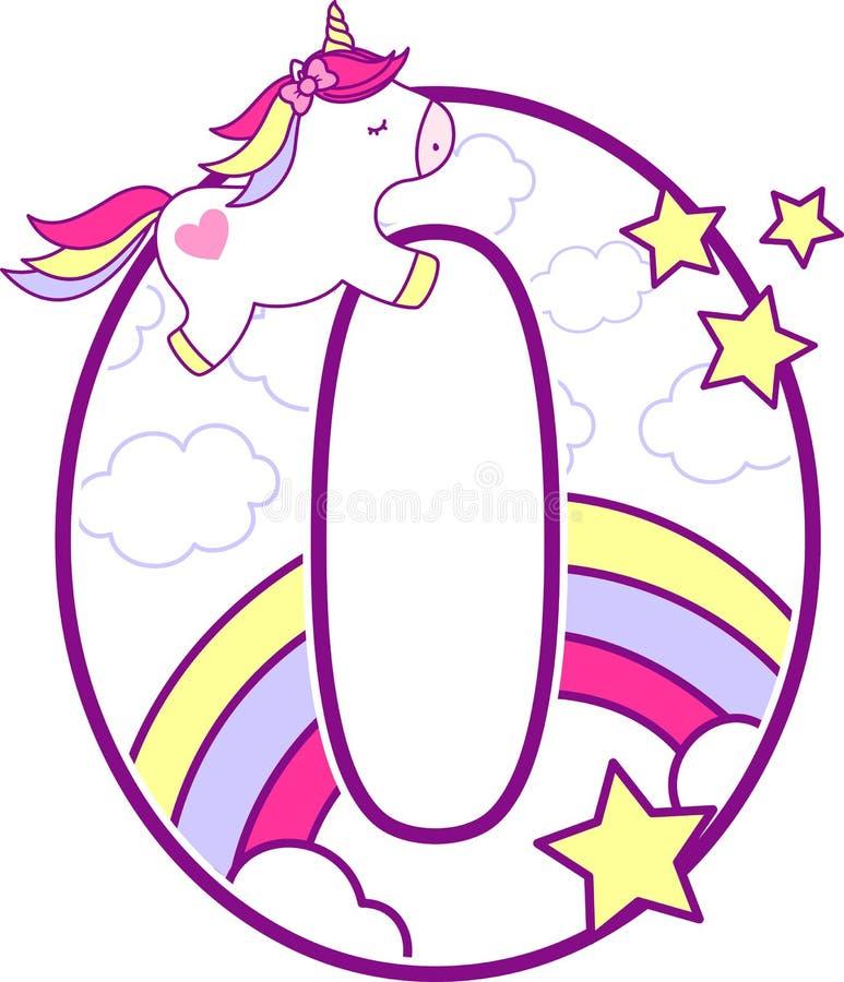 Nummer 0 met leuke eenhoorn en regenboog stock illustratie