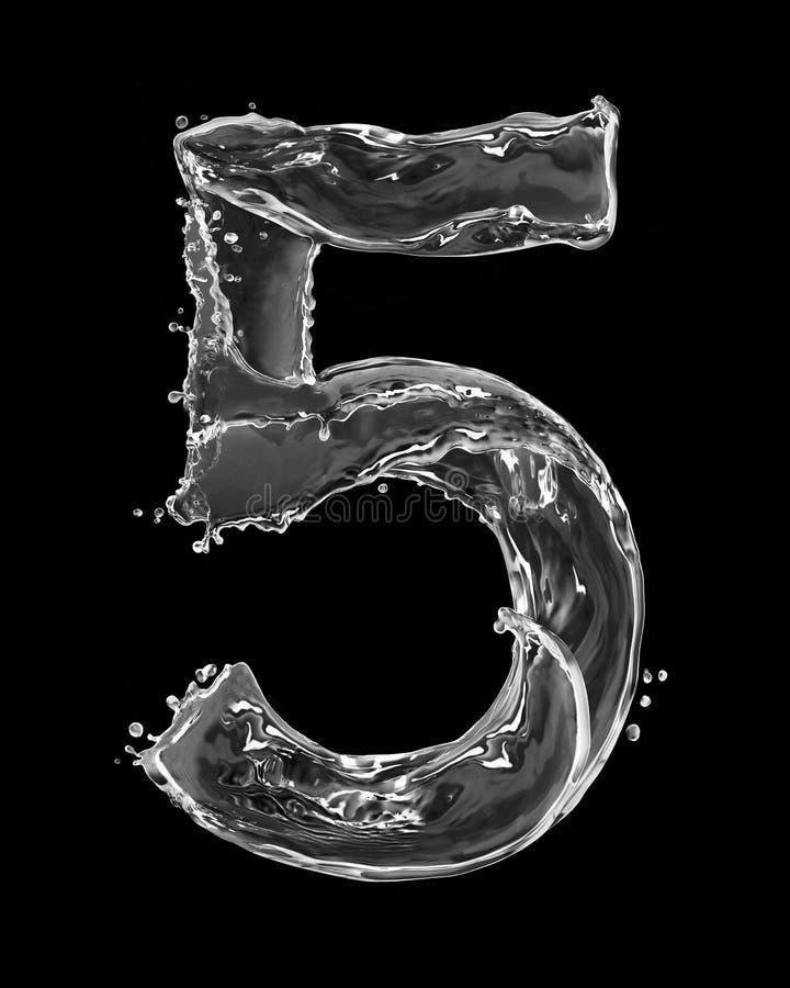 Nummer 5 met tot plonsen die van water wordt op zwarte worden geïsoleerd gemaakt die stock afbeeldingen