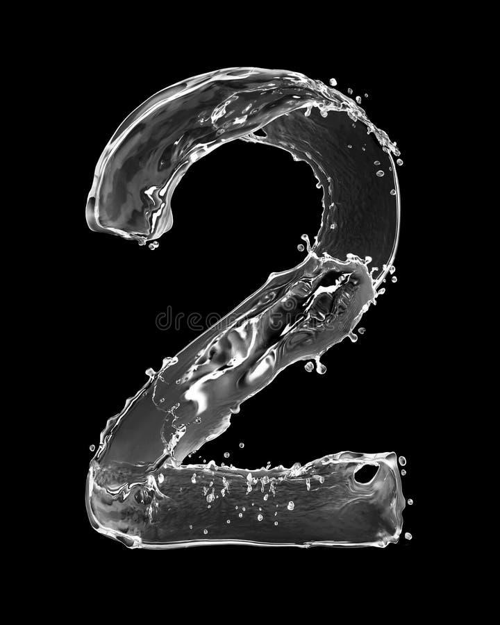 Nummer 2 met tot plonsen die van water wordt op zwarte worden geïsoleerd gemaakt die stock fotografie