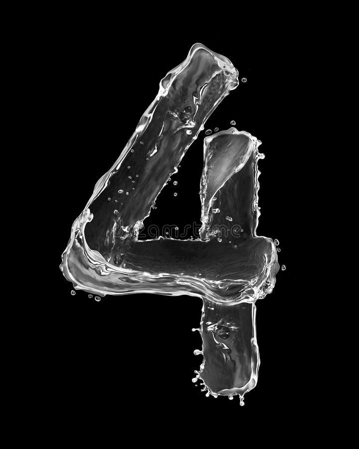 Nummer 4 met tot plonsen die van water wordt op zwarte worden geïsoleerd gemaakt die royalty-vrije stock afbeeldingen