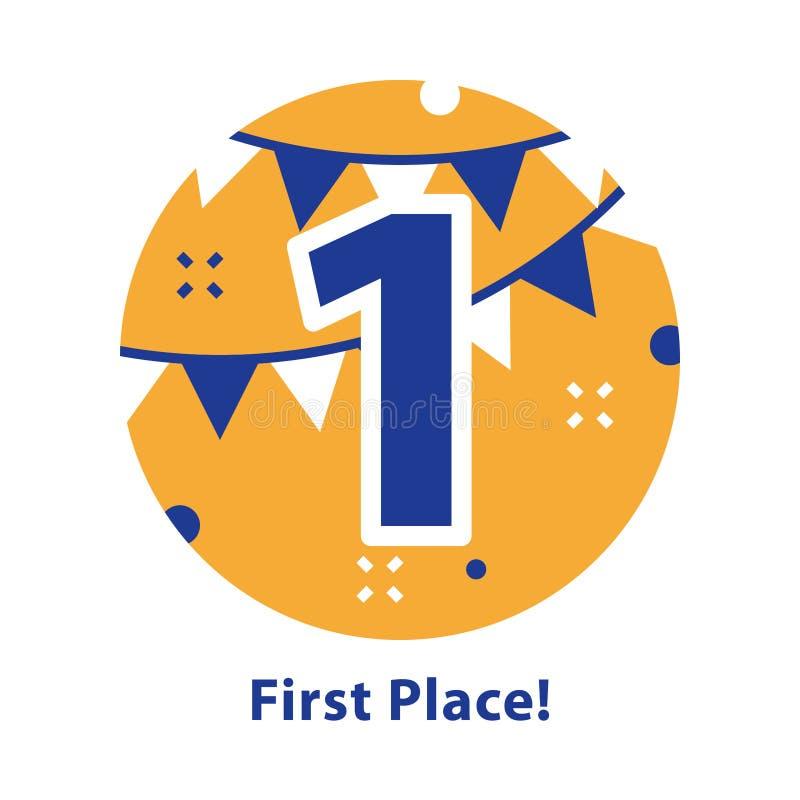 Nummer ??n, eerste plaats, toekenningsceremonie, het vieren gebeurtenis, succesvolle verwezenlijking stock illustratie