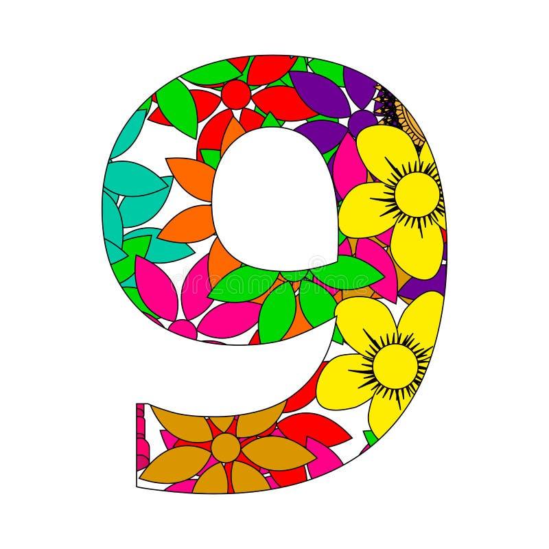 Nummer negen vector illustratie