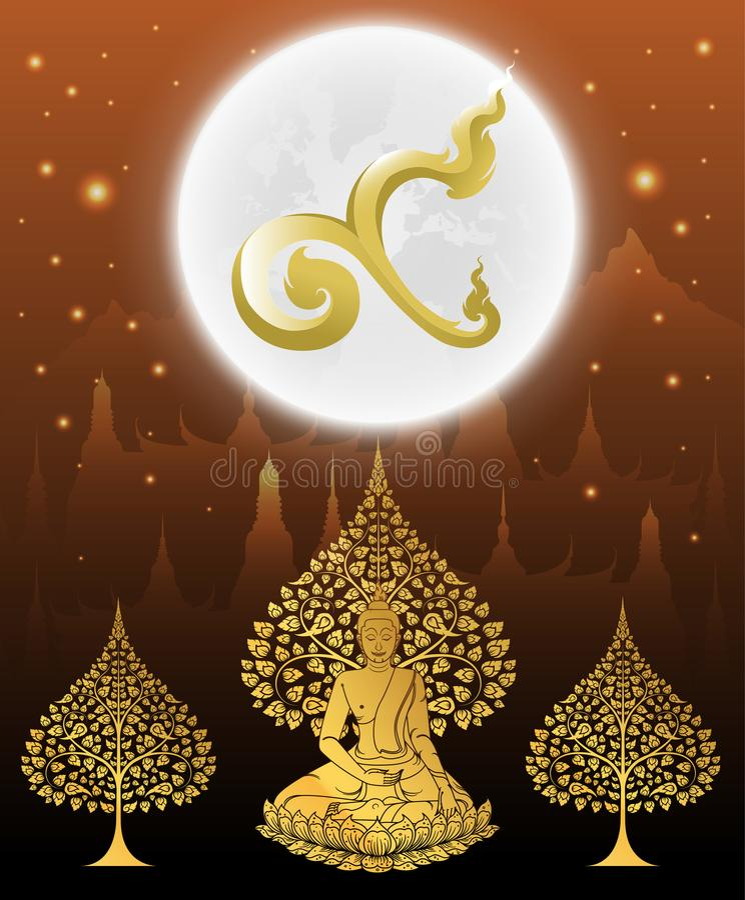 Nummer nio för konung och buddha thai tradition på templet vektor illustrationer