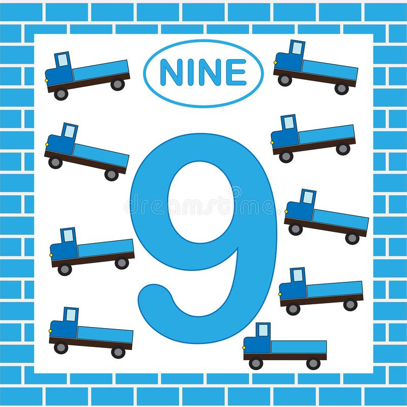 Nummer 9 nio, kort Lära nummer med transport, lastbil Bildande lek för barn royaltyfri illustrationer