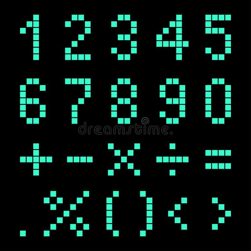 Nummer och matematiskt tecken från PIXEL vektor illustrationer
