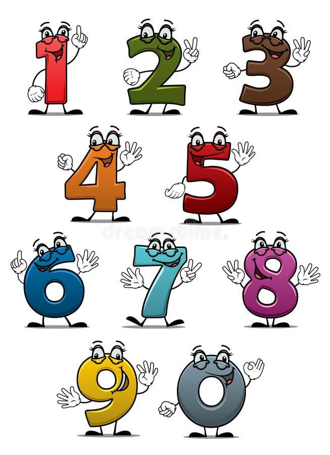 Nummer och siffror för tecknad film roliga stock illustrationer