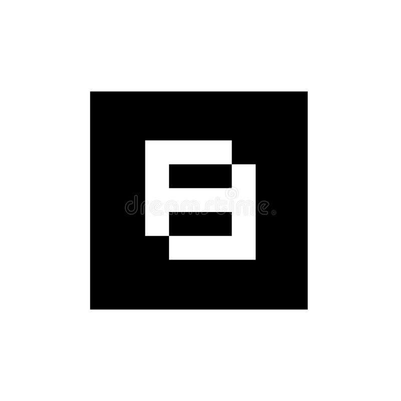 Nummer 8 op Zwarte Vierkante Vorm, Technologie Logo Design Concept, Malplaatje van het Netwerk het Digitale Pictogram - Vector stock illustratie