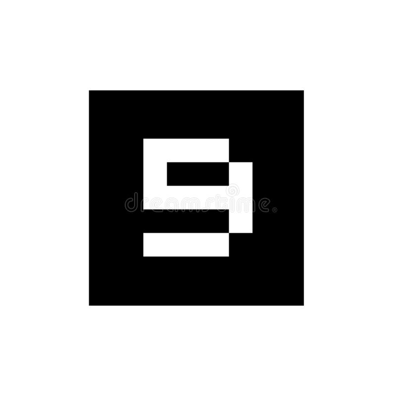 Nummer 9 på den svarta fyrkanten Shape, teknologi Logo Design Concept, nätverk Digital Logo Icon Template vektor illustrationer
