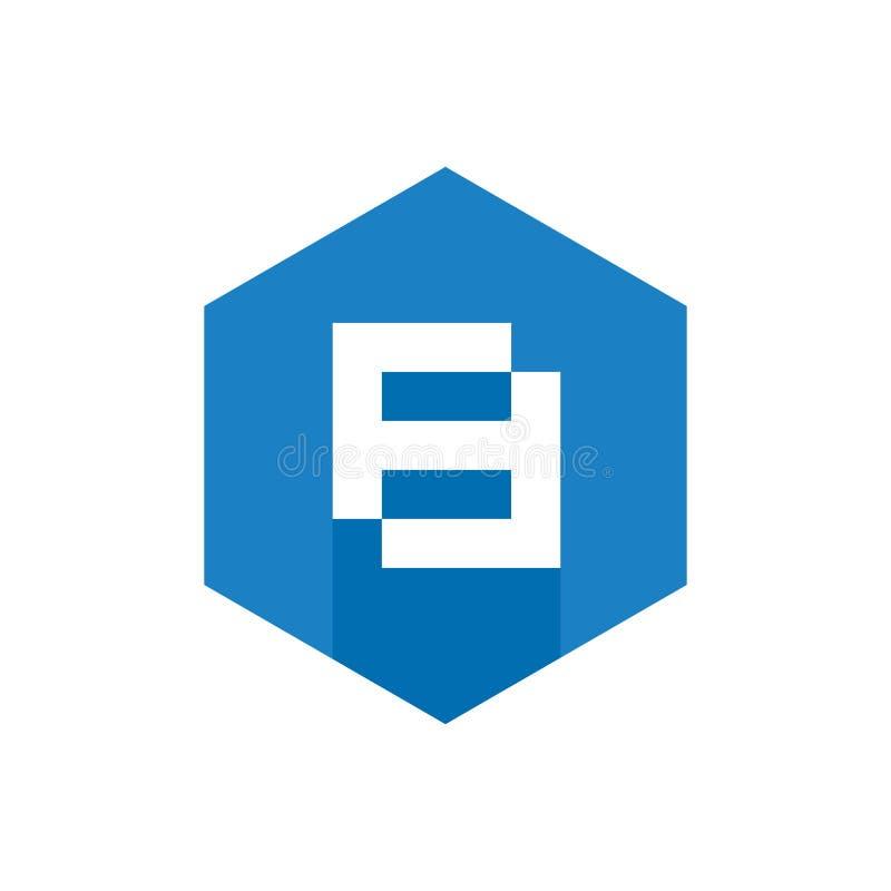Nummer 8 Pictogram, Blauw Hexagon Vlak Pictogram, Digitaal Technologieconcept vector illustratie