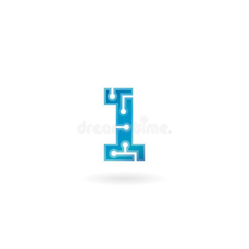 Nummer 1 pictogram Technologie slimme elektronisch embleem, computer en gegevens verwante zaken, hi-tech en innovatief, stock illustratie