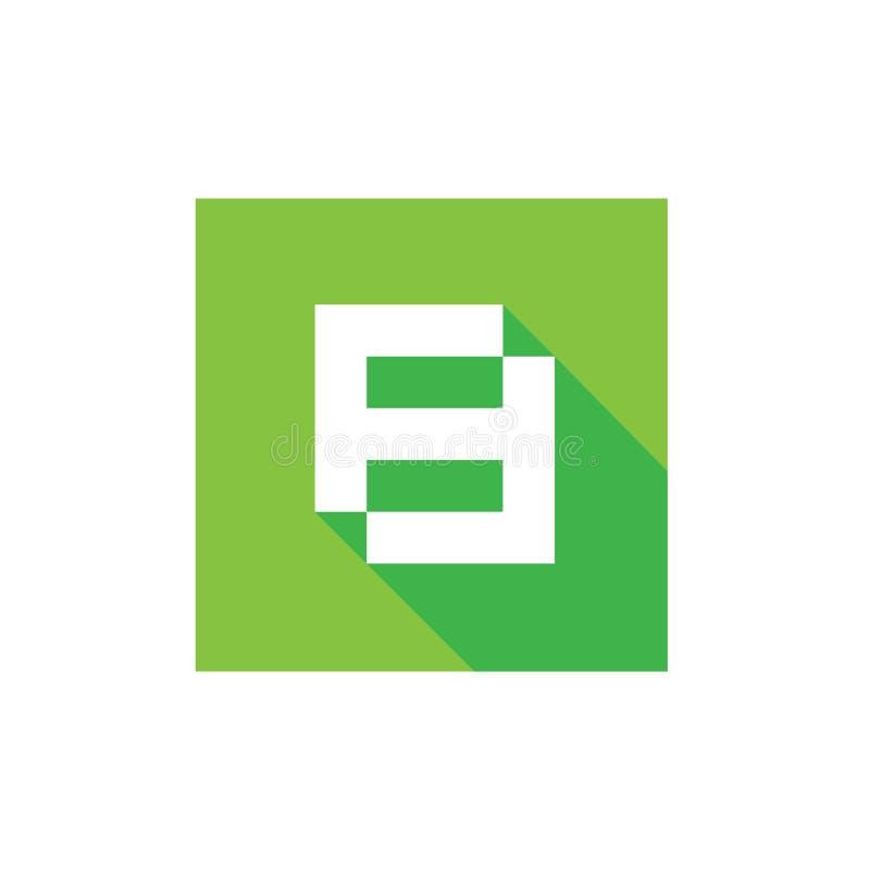 Nummer 8 Pictogram, Wit op Groene Vierkante Vorm, Logo Design Element, Digitaal Technologieconcept royalty-vrije illustratie