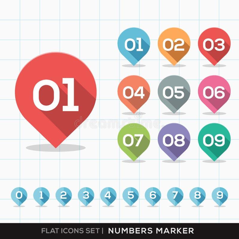 Nummer Pin Marker Flat Icons med den långa skuggauppsättningen vektor illustrationer