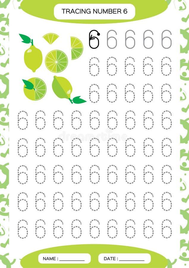 Nummer 6 sex Spårande arbetssedel för ungar Grön saftig limefrukt Förskole- arbetssedel, praktiserande motorisk expertis - spåra vektor illustrationer