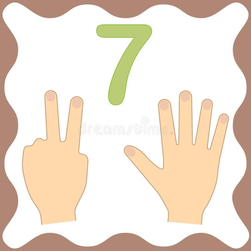 Nummer 7 sju, bildande kort som lär att räkna med fingrar royaltyfri illustrationer