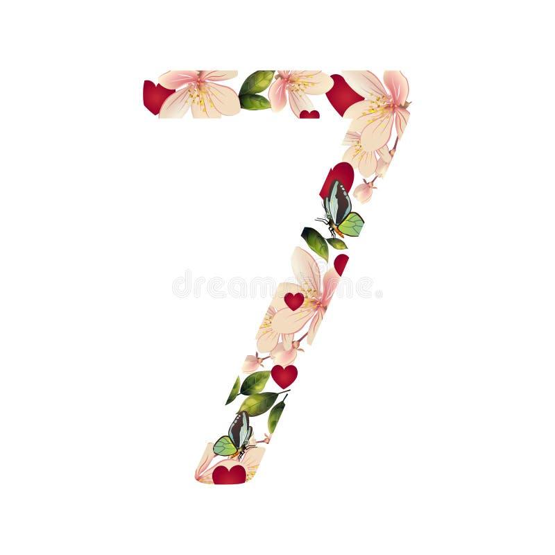 Nummer sju med blommor royaltyfri illustrationer