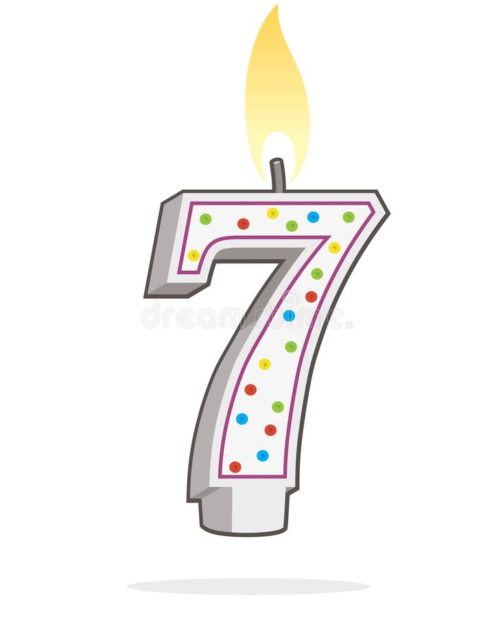 Nummer sju som formas tänd födelsedagstearinljus stock illustrationer