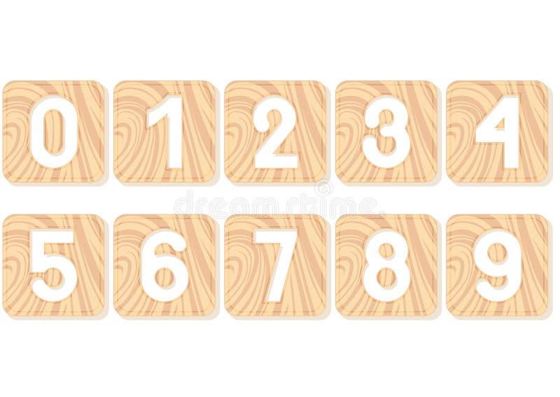 Nummer sned in i träfyrkanter arkivbilder